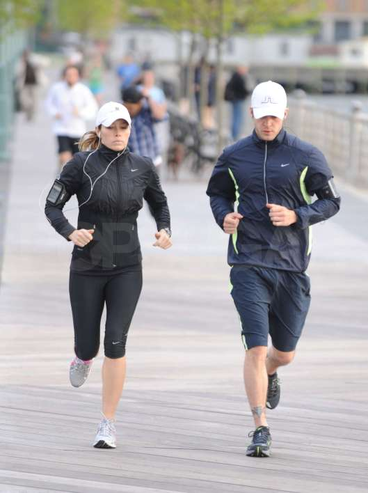 Justin Timberlake and Jessica Biel jogging at Chelsea Piers