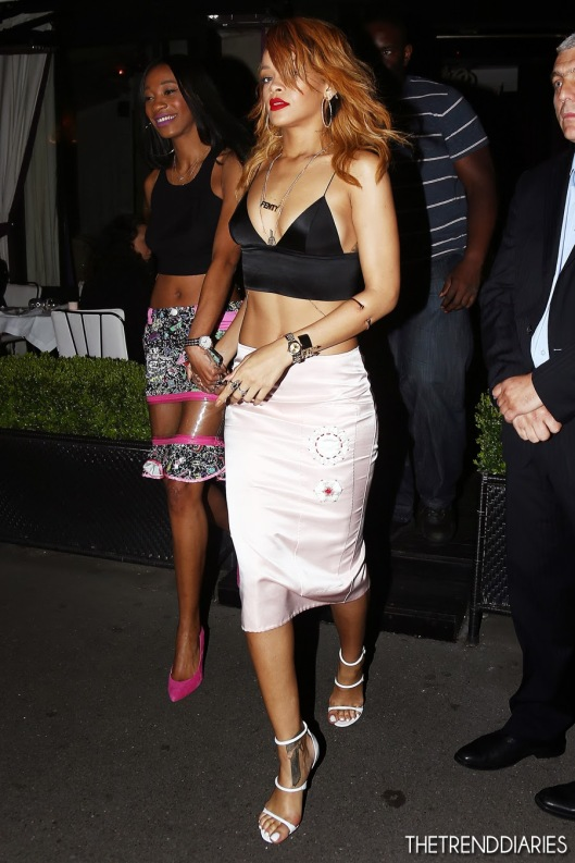 rihanna-street-style-fashion-t-by-alexander-wang-silk-triangle-bralette-manolo-blahnik-sandals-strap-prada-flower-skirt-1